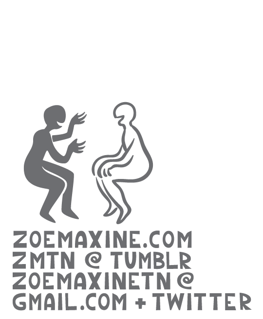 The two people smiling and talking above the contact info for Zoe Maxine