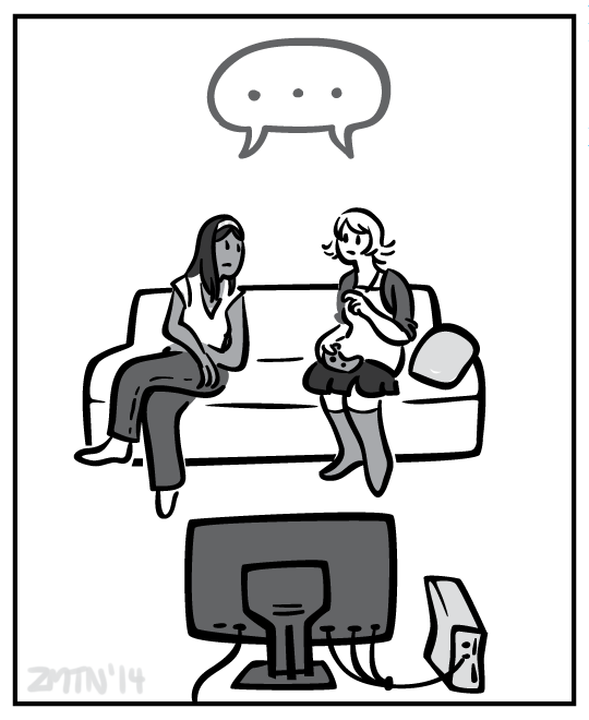 The two women sit on the couch in silence as they realize the implications