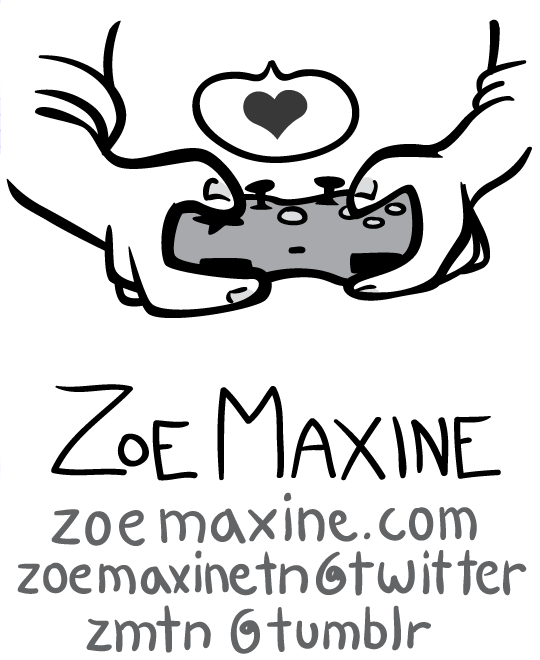 Zoe Maxine's contact info below a drawing of hands holding a gaming controller