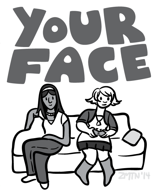 Two women sit on a couch. TEXT: YOUR FACE