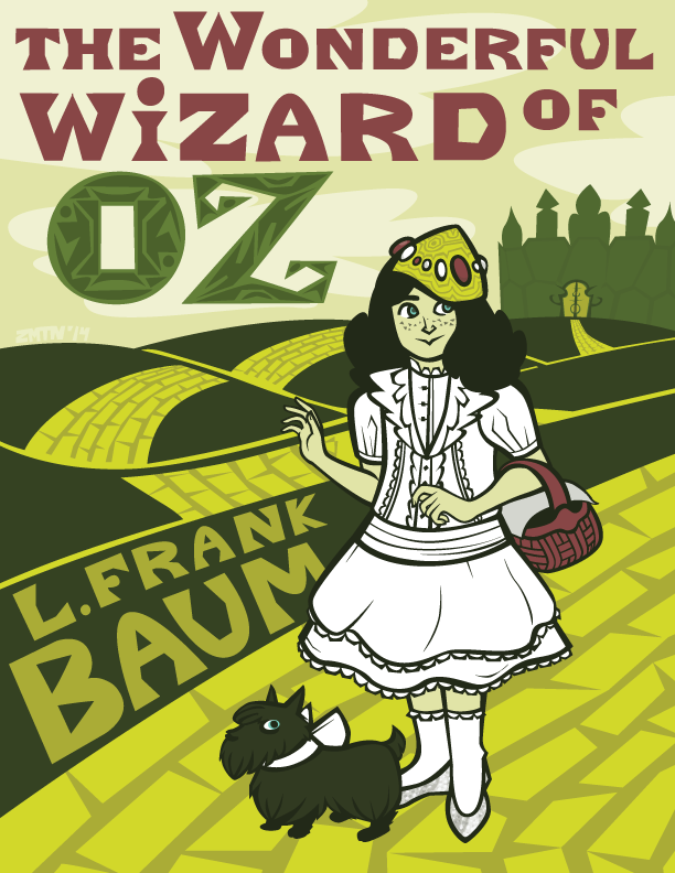 a fake cover of the Wizard Of Oz, depicting Dorothy and Toto on the yellow brick road. 2014