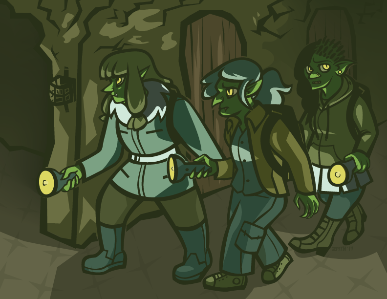 Three modern day goblins with flashlights explore an abandoned underground tunnel. 2014
