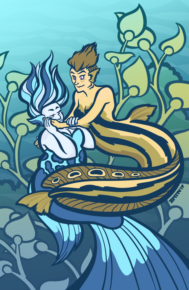 Two mermaids in a romantic embrace