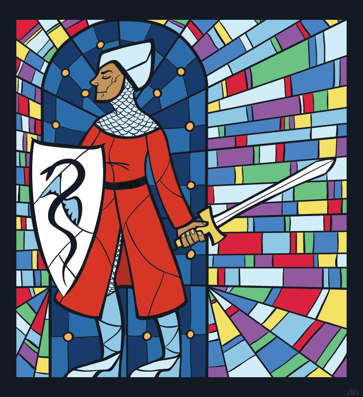 An illustration of a stained glass window depicting a lady knight. 2011